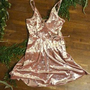 Light pink velvet dress